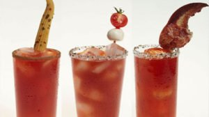 3 caesars with different garnishes