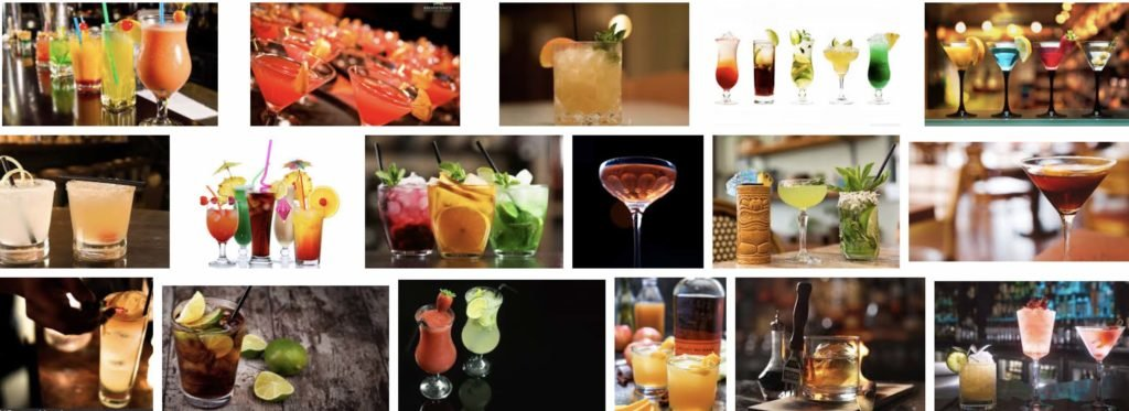 many cocktails in a mixology class in Vancouver