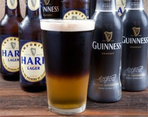 black and tan Guinness and beer