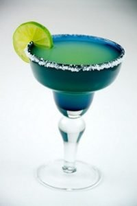 margarita in blue fiesta glass with salt rim