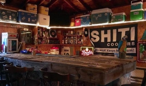hobby bar in a garage